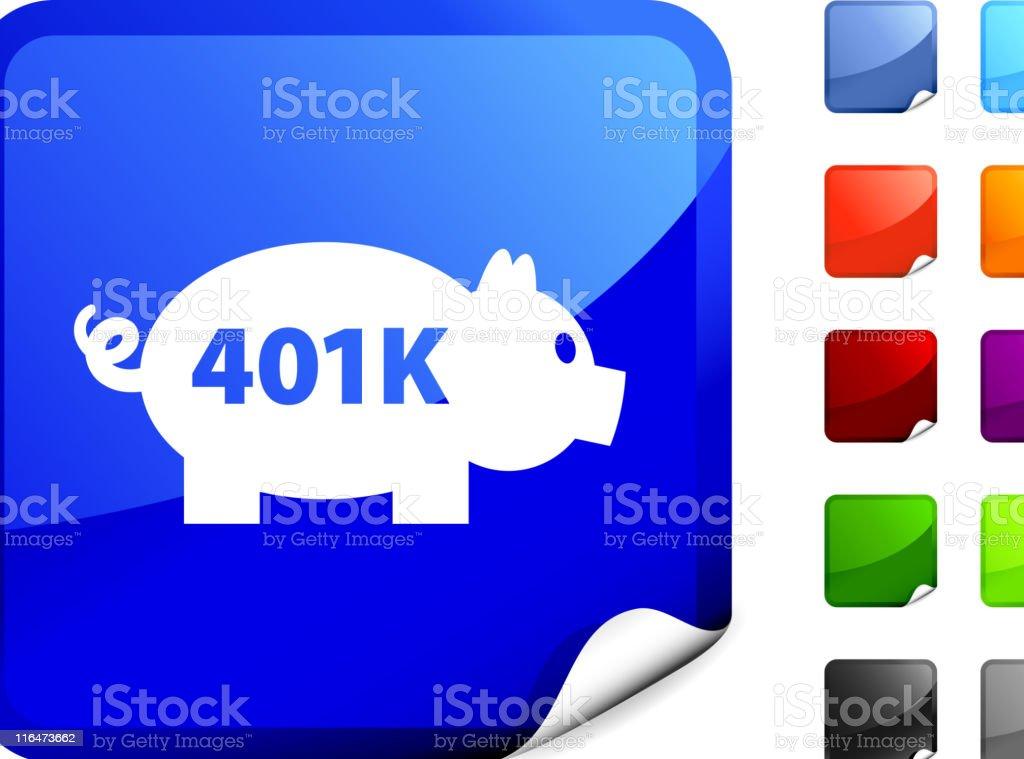 piggy bank royalty free vector art on Blue Sticker vector art illustration