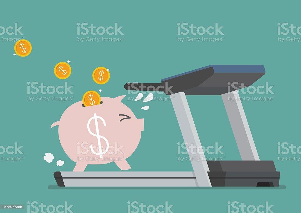 Piggy bank running on a treadmill vector art illustration