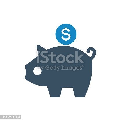 istock Piggy bank savings icon 1262560961