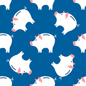 Piggy Bank Seamless Pattern.