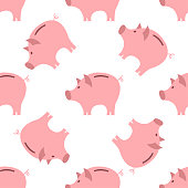 Piggy Bank Seamless Pattern.