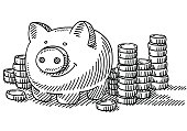 Piggy Bank Stacks Of Coins Savings Drawing