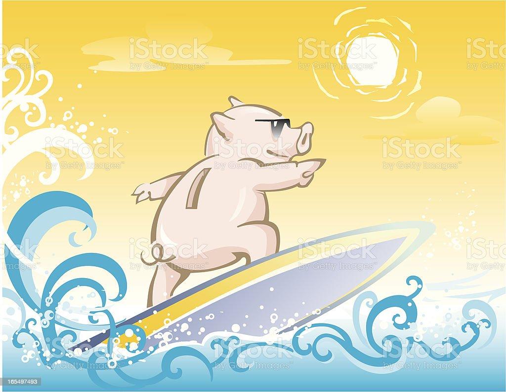 Piggy Bank Surf vector art illustration
