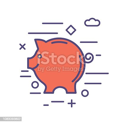 Piggy Bank Financial concepts icons in thin line flat design style. Money, payments and  technology.