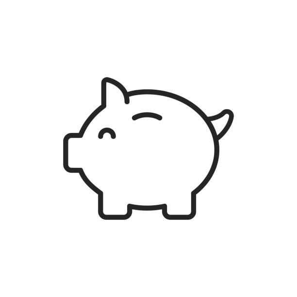 Piggy Bank Thin Line Vector Icon. Editable Stroke. Pixel Perfect. For Mobile and Web. Piggy Bank Thin Line Vector Icon. piggy bank stock illustrations