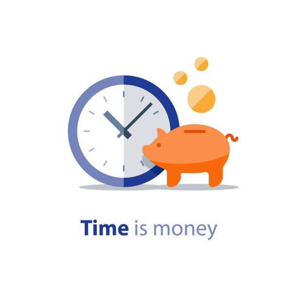Piggy bank, time is money, clock and money bags, home finance, return on investment, income growth, annual payment, vector icon Home finance, piggy bank, financial period, clock icon, annual payment, income growth, return on investment, budget planning, expenses concept, savings bank account, vector illustration time is money stock illustrations