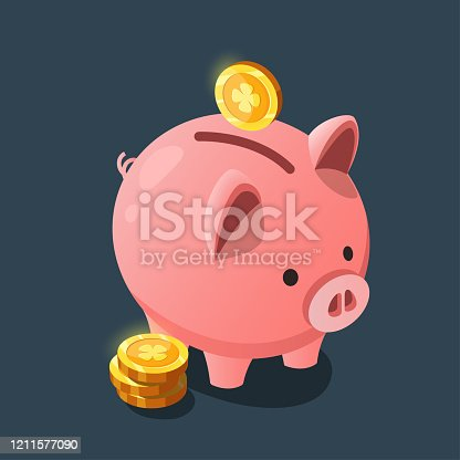 Piggy bank with coins. Pink pig in the form of a piggy bank for the game interface.