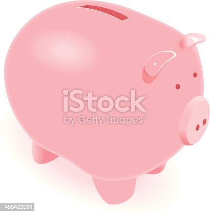 Illustration of a Pink Cute Piggy Bank (Pdf(6) and Ai(8) files are included)