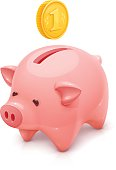 Vector illustration of a classic piggy bank with a coin.