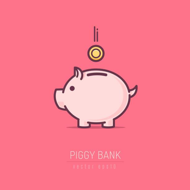 Piggy Bank Piggy bank simple vector illustration in flat linework style  piggy bank stock illustrations