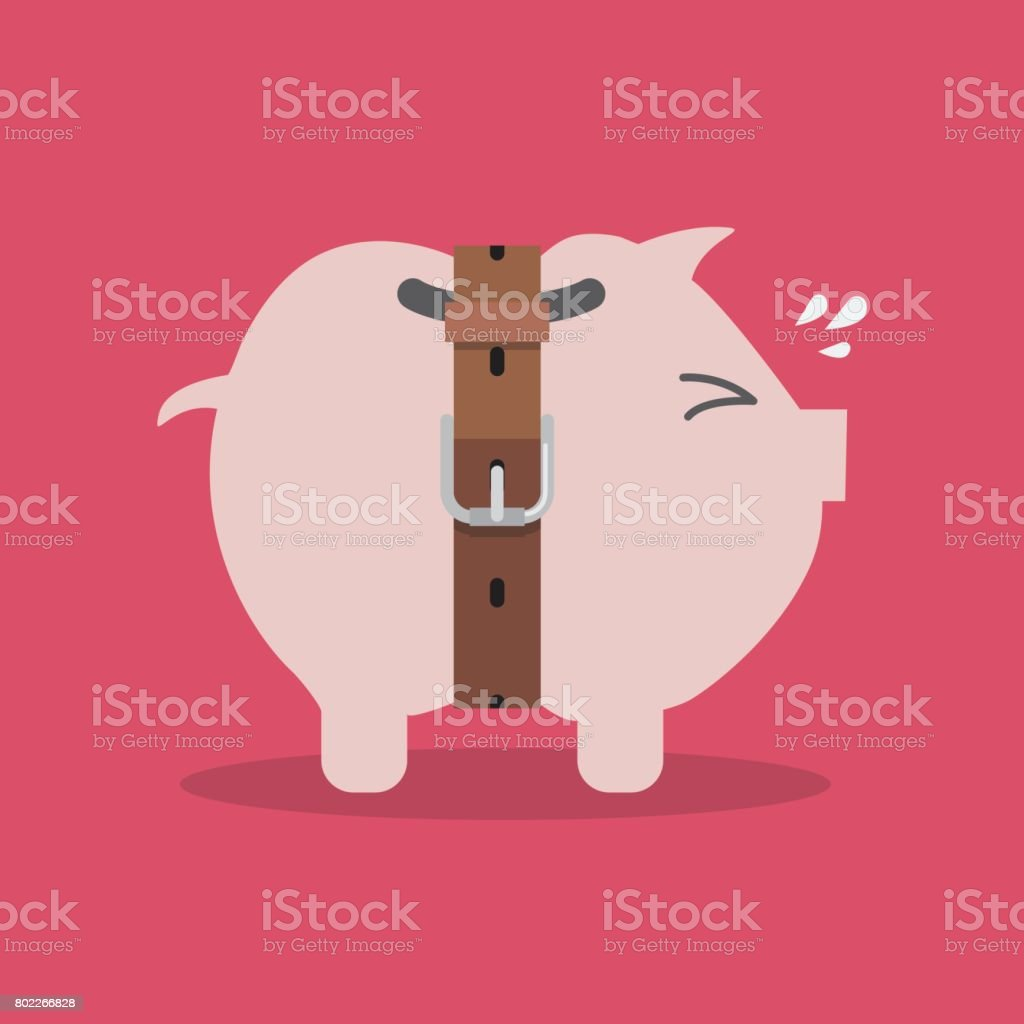 Piggy bank with a tight belt vector art illustration
