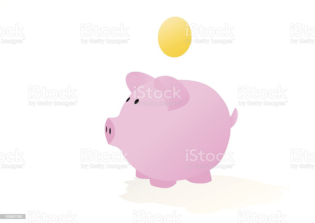 piggy bank with blank coin royalty-free stock vector art