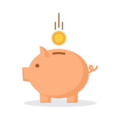 Piggy bank with coin. Symbol of New Year 2019. Vector illustration