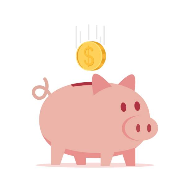 Piggy bank with coin vector illustration. Piggy bank with coin in a flat style, vector illustration. piggy bank stock illustrations