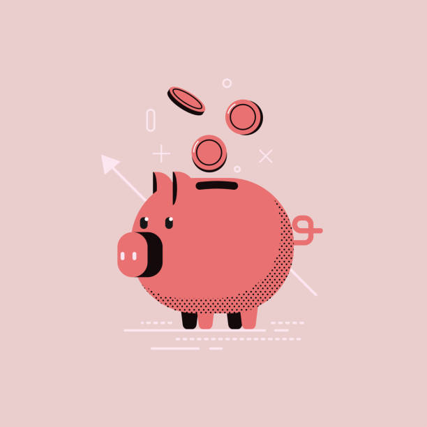 Piggy bank with coins saving many vector flat concept. Piggy bank with coins saving many vector flat concept. piggy bank stock illustrations