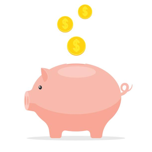 Piggy Bank with coins Piggy Bank with coins. Save money concept, to save finances. Vector illustration in flat style isolated on white background piggy bank stock illustrations