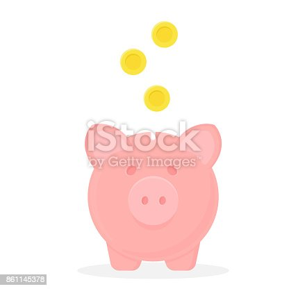 Piggy bank with falling coins. Vector icon. Save money concept.