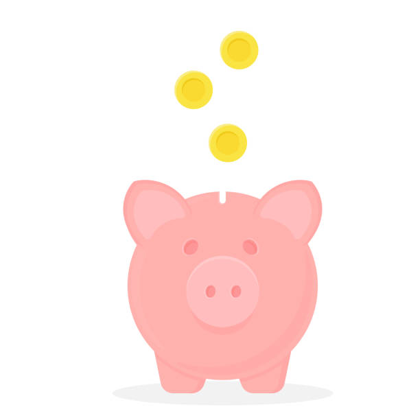 Piggy bank with falling coins. Vector icon. Save money Piggy bank with falling coins. Vector icon. Save money concept. safety deposit box stock illustrations