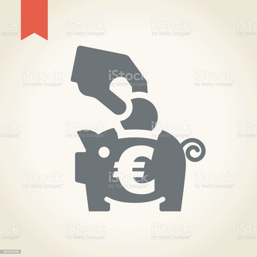 Piggy bank with hand and coin icon piggy bank with hand and coin icon - immagini vettoriali stock e altre immagini di adulto royalty-free