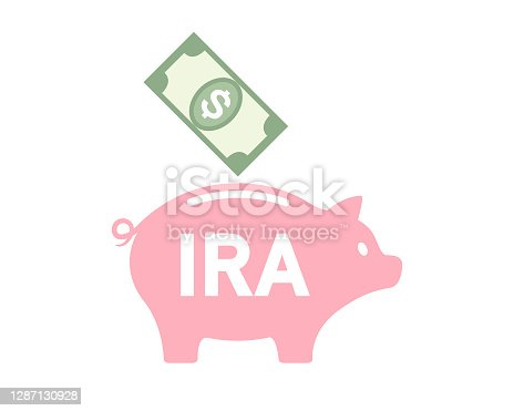 Money in dollars getting into a pigggy bank for retirement savings and investment in a ROTH account