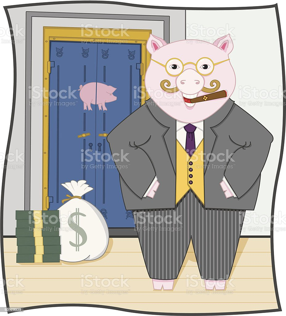 Piggy Banker vector art illustration