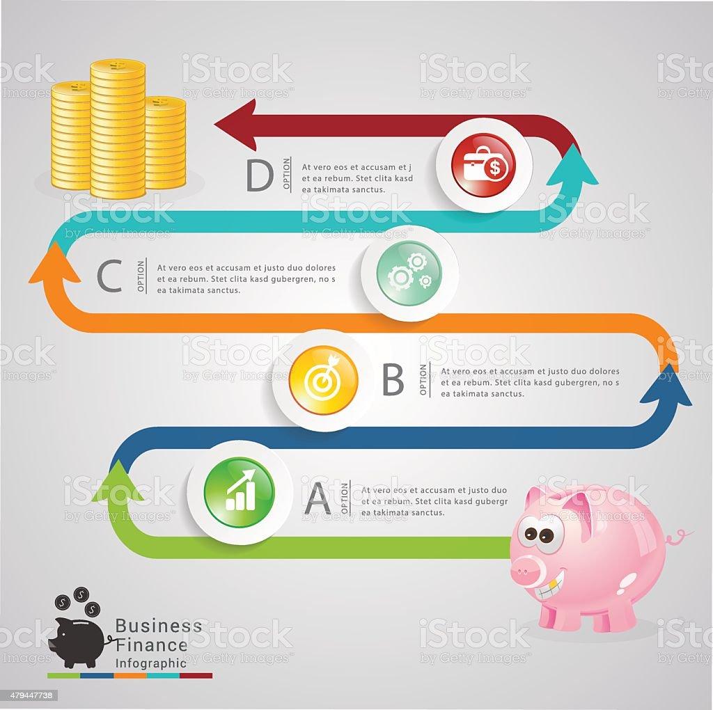 Piggy banking infographic vector art illustration