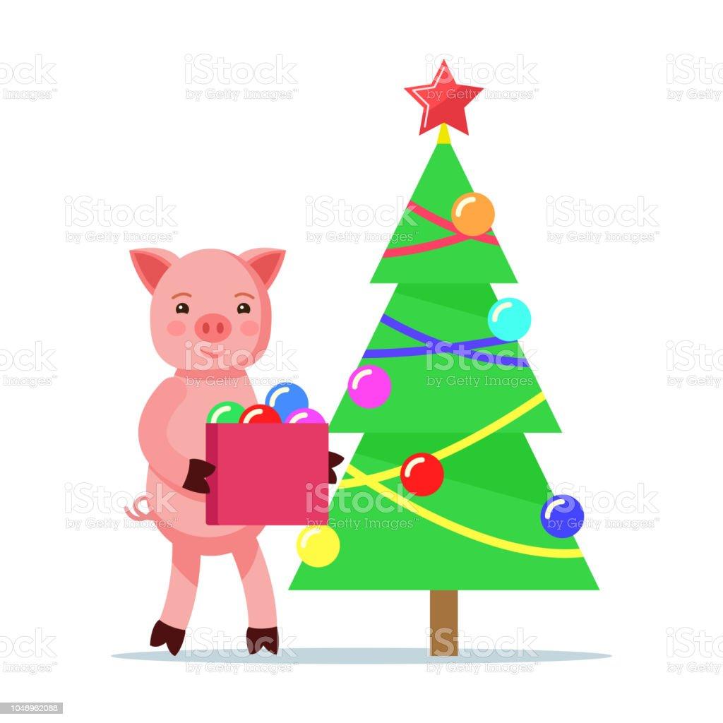 Piggy Putzt Sich Christbaumschmuck Stock Vektor Art Und Mehr Bilder