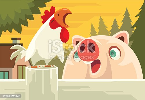 istock piggy meeting crowing rooster 1290052978