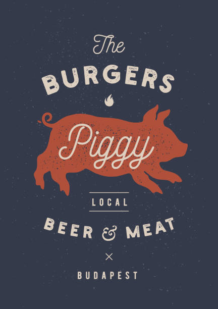 Piggy, pig, pork. Vintage label, , sticker, poster for Meat Restaurant Piggy, pig, pork. Vintage label, , print sticker for Meat Restaurant, butchery meat shop poster with text, typography BBQ, Steak Beer, grill house. Piggy or pig silhouette. Vector Illustration farmers market illustrations stock illustrations