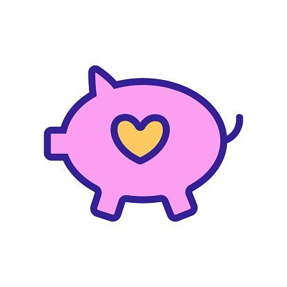 Piggy piggy icon vector. Isolated contour symbol illustration