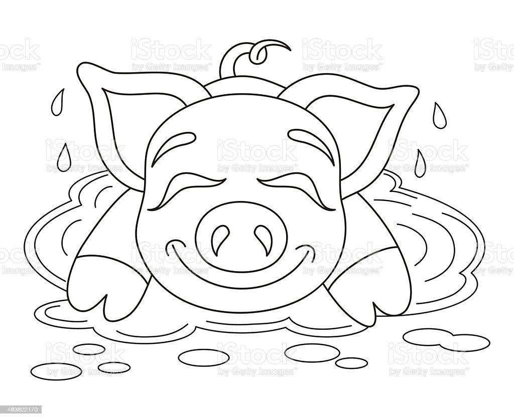 Ilustración de Hucha Descansar En El Agua En Un Charco Libro Para ...