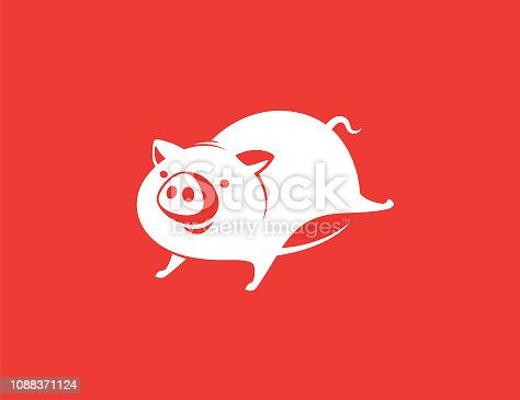vector illustration of piggy running symbol