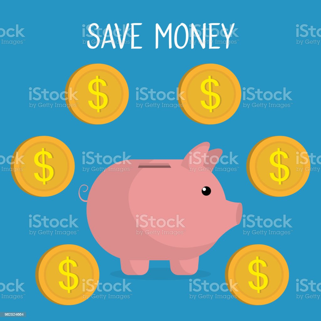 piggy savings with coins - Royalty-free Bank - Financial Building stock vector