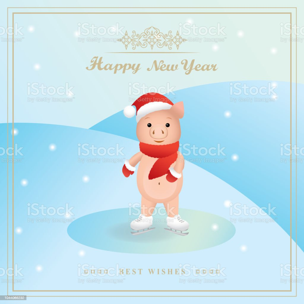 Piggy Skating On Ice 3d Art Design For Books Greeting Cards