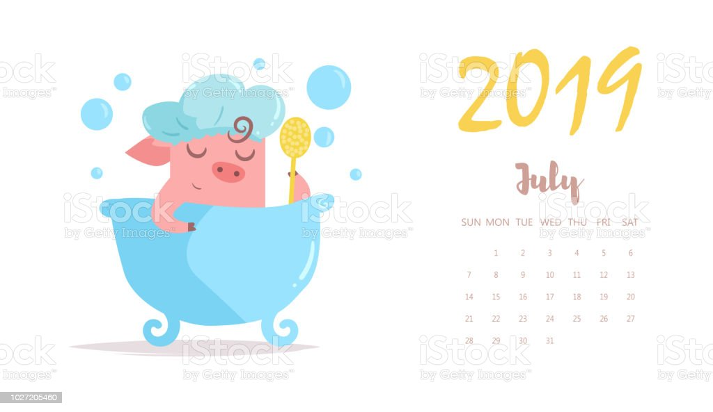 Calendario Julio 2019 Vector.Piggy Washes In Bathroom Vector Cartoon Isolated Art Flat