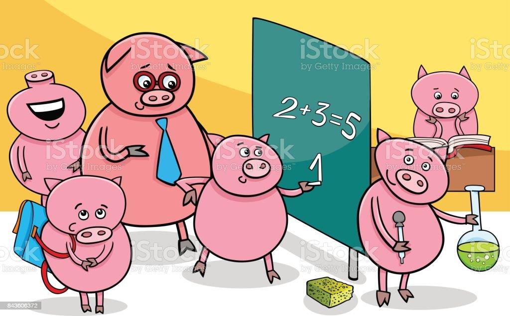 Vetores De Personagens De Desenhos Animados Leitao Na Escola E