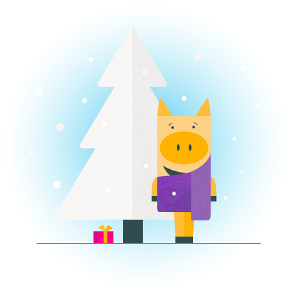 Piglet in the scarf