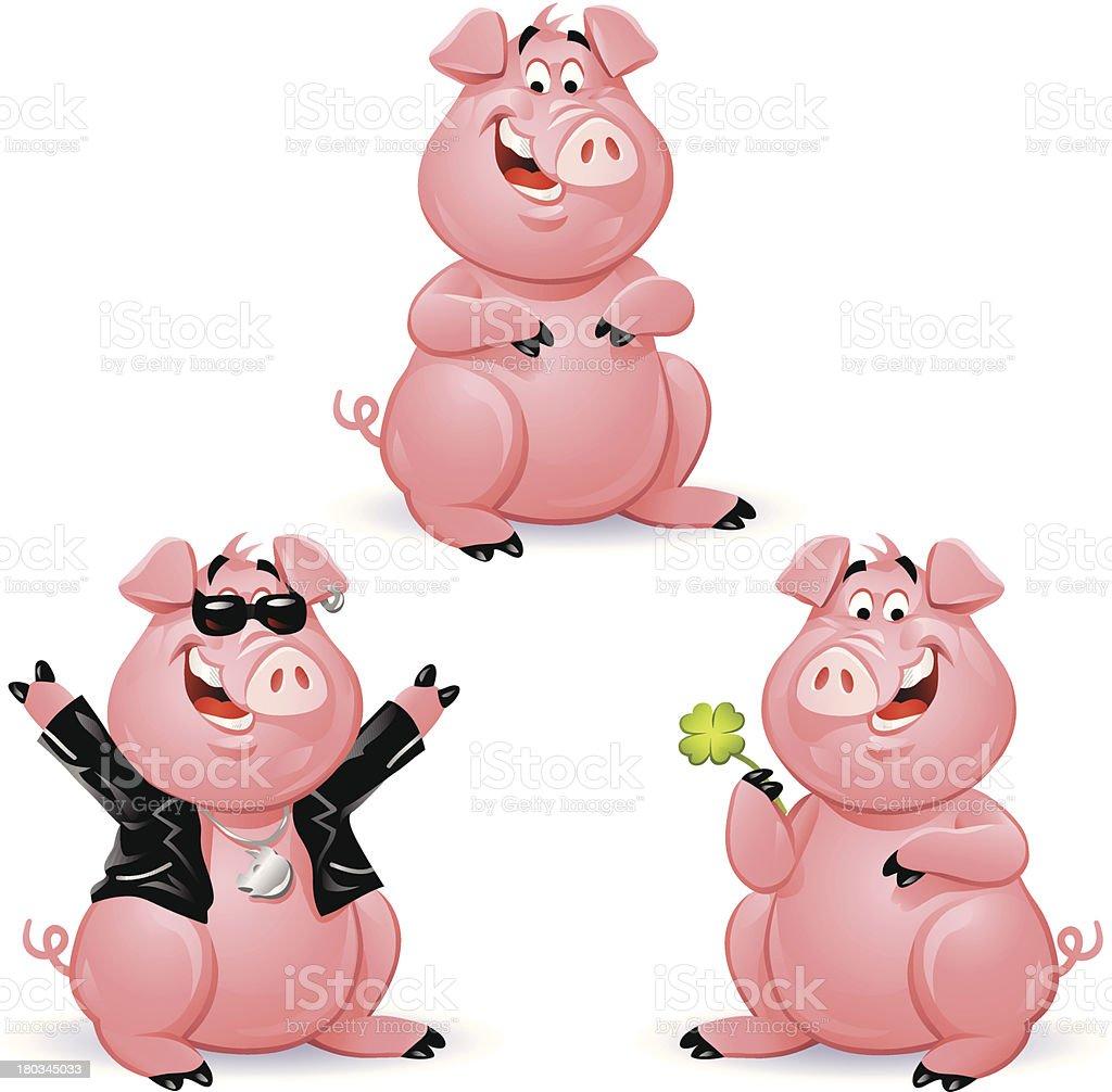 Pigs 3 vector art illustration