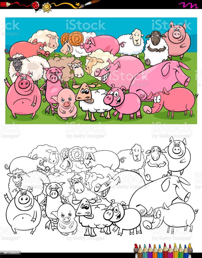 Domuz Ve Koyun Karakter Renkli Kitap Grubu Stok Vektor Sanati