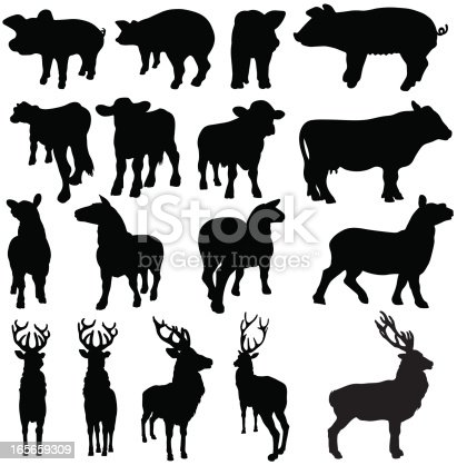 Pigs Cows Sheep And Deer Silhouettes Stock Vector Art ...