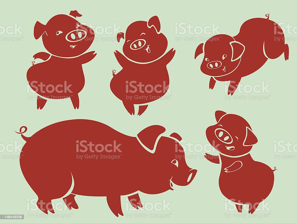 Pigs in action royalty-free stock vector art