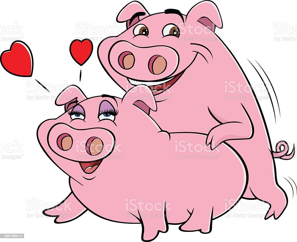 pigs mating vector art illustration