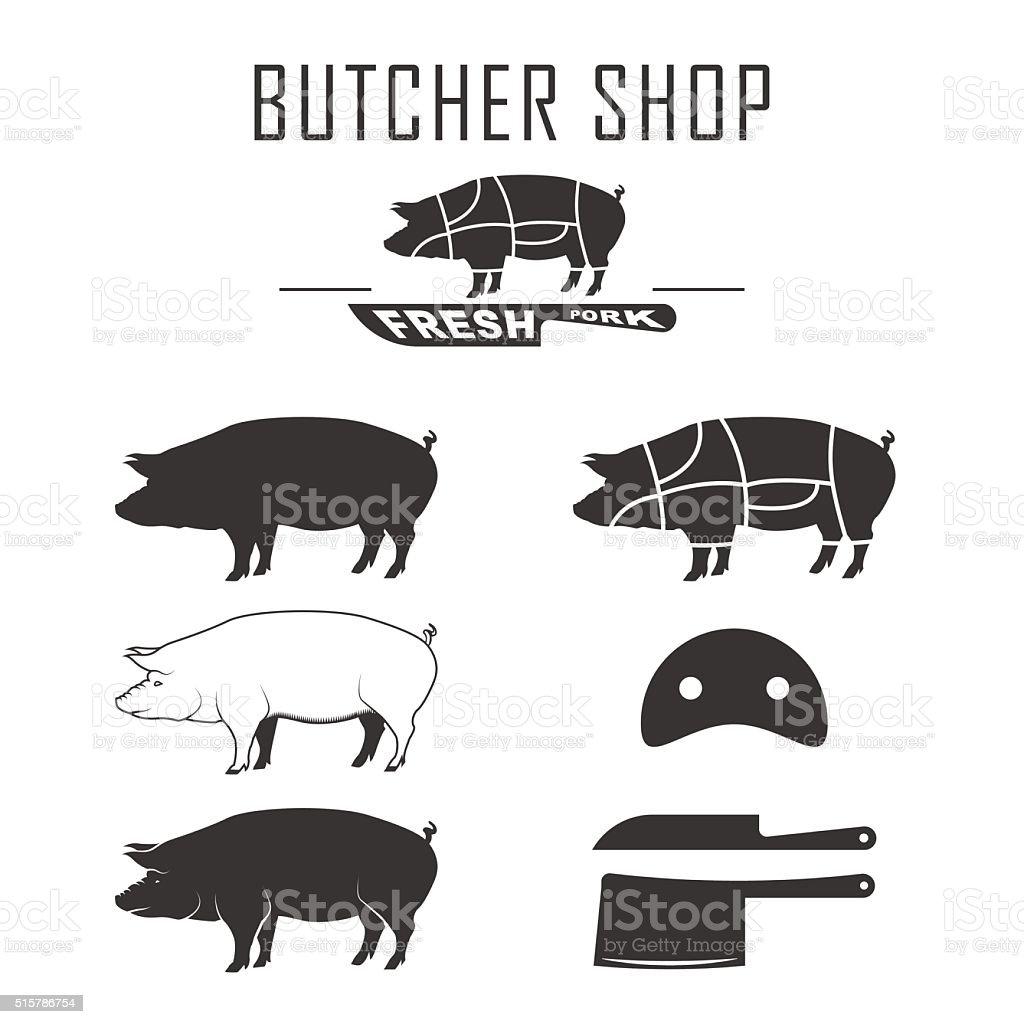 pigs set vector art illustration