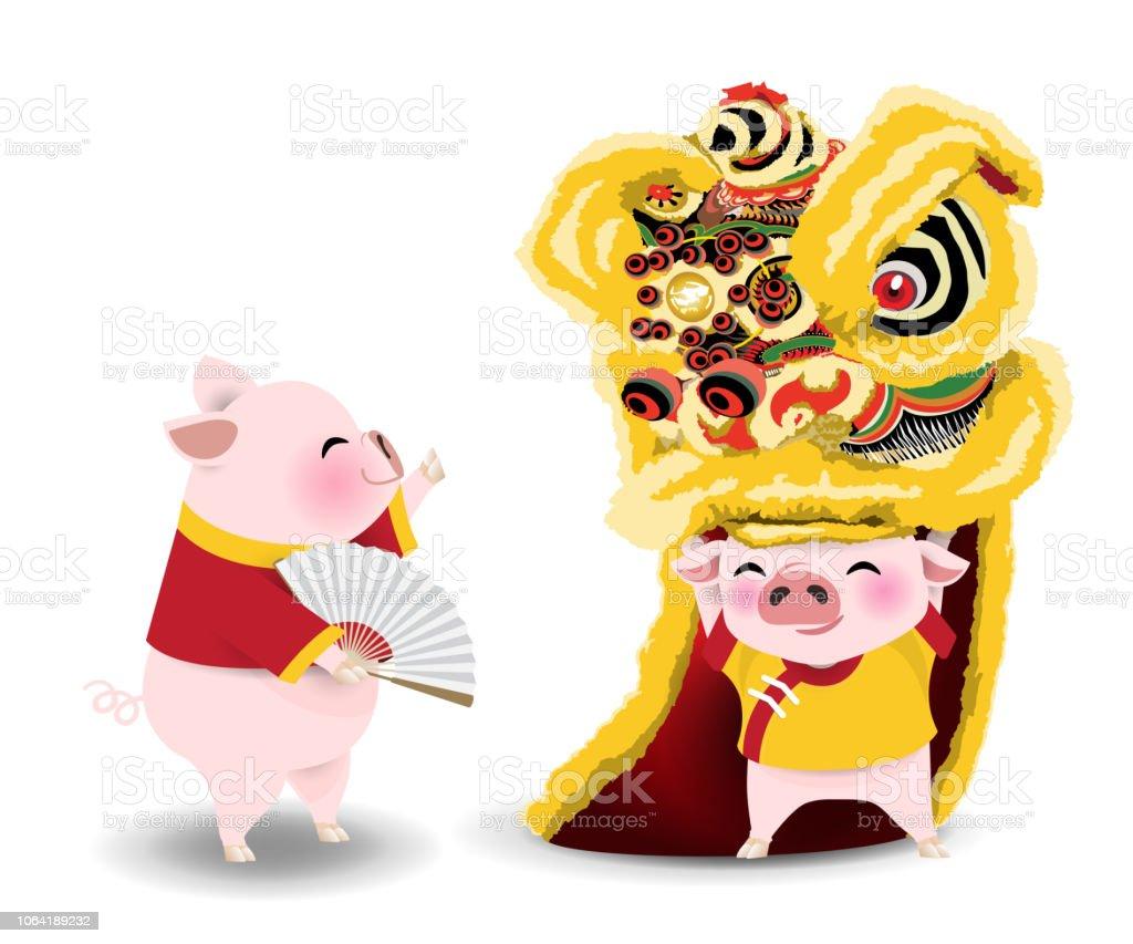 라이온 댄스와 돼지 - 로열티 프리 0명 벡터 아트