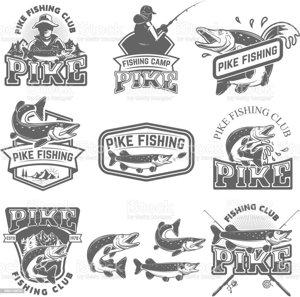 Emblèmes de club de pêche le brochet. Élément de conception d'étiquette, insigne, signe. Illustration vectorielle. - Illustration vectorielle
