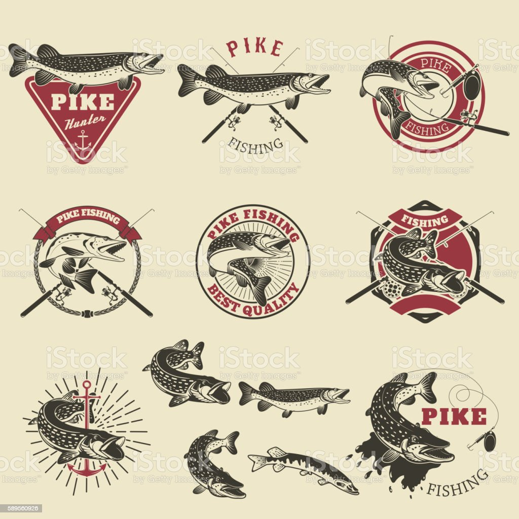 Pike fishing labels. - Illustration vectorielle