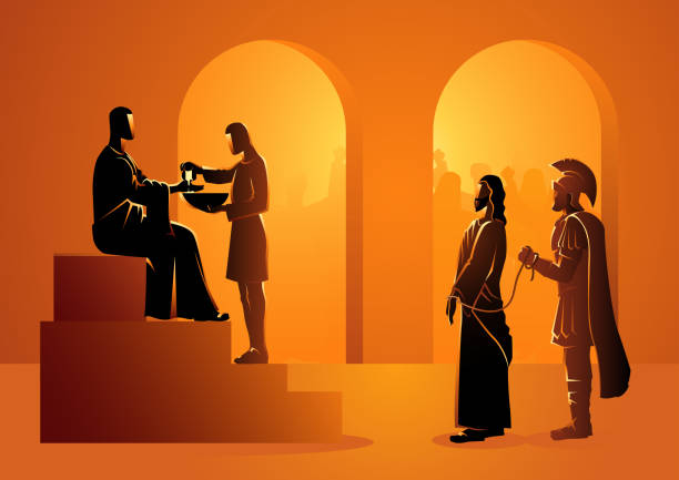 pilate condemns jesus to die - part of a series stock illustrations