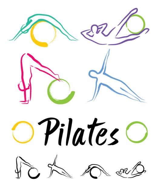 stockillustraties, clipart, cartoons en iconen met pilates klasse - pilates