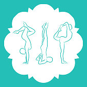 Pilates, fitnes, yoga line silhouettes set