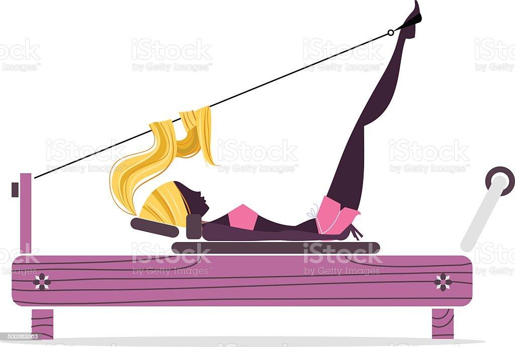 Pilates ragazza Silhouette - illustrazione arte vettoriale